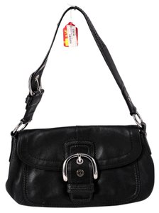 Coach Buckle Flap Over Silvertone Hardware Shoulder Bag