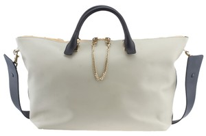 Chloé Baylee Leather Grey Tote in Black & Gray