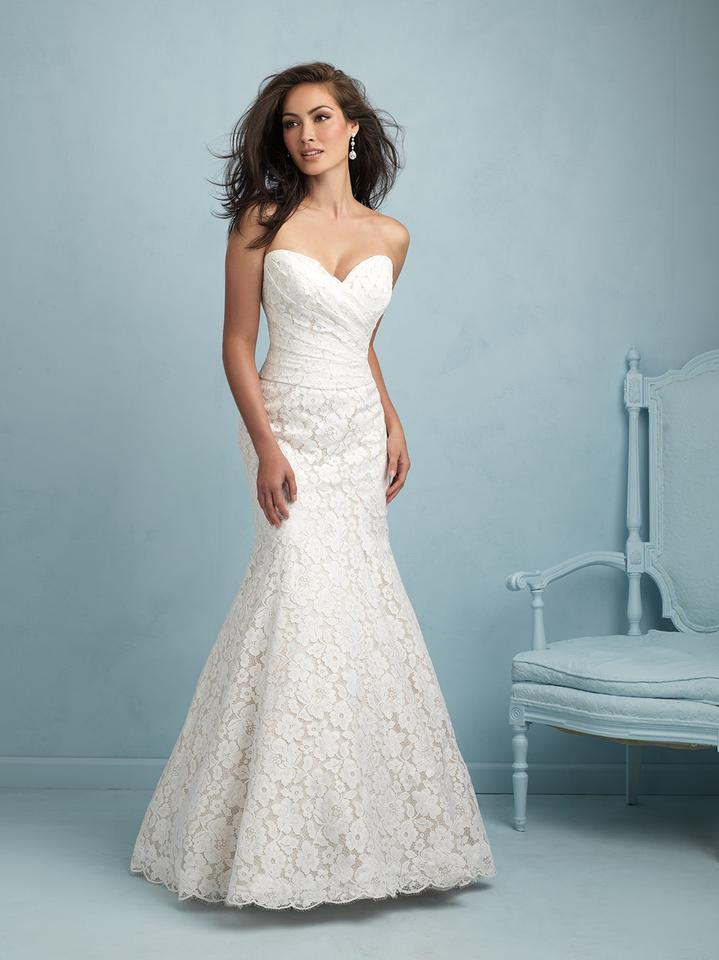 Allure Bridals Champagne/Ivory Lace 9210 Wedding Dress Size 22 (Plus 2x) 28% off retail