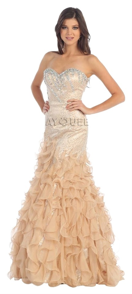 56ba9ac10854 May Queen Gold Mermaid Sequin Prom Formal Dress. Size: 10 (M) Length: Long  ...