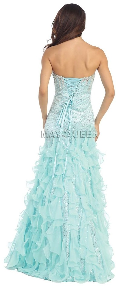 624f956da2e2 May Queen Gold Mermaid Sequin Prom Long Formal Dress Size 10 (M ...