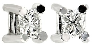 ABC Jewelry Diamond Princess Cut Earrings Not Enhanced .26tcw H/Si1 14k White Gold Made USA