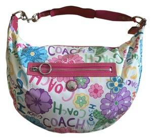 Coach Pink White Leather Hobo Bag