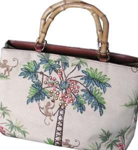 Isabella Fiore Monkey Sequined Beaded Palm Trees Handbag Island Go Bananas Tropical Embellished Tote in Beige