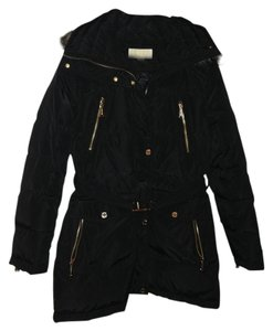 Michael Kors Puffy Jacket Faux Fur Belted Coat