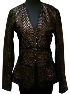 Natacha & Vanessa Python Design Leather Bronze Metallic Gold Clasps Black/Bronze Leather Jacket