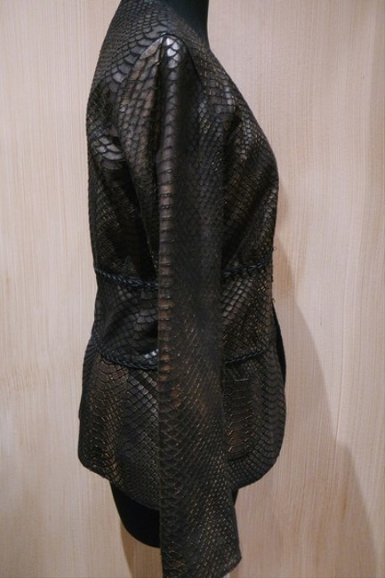 Natacha & Vanessa Python Design Metallic Gold Clasps Black/Bronze Leather Jacket