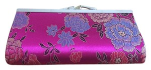 Other Metalic Asian Multi Floral Womens Evening Fuschia Clutch