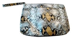 Express Faux Snakeskin Black, Yellow and White Clutch