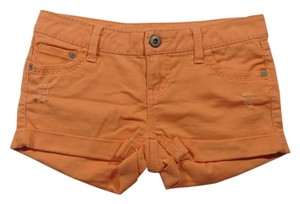 Blue Asphalt Distressed Stretchy Cuffed Shorts Orange