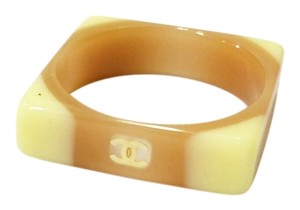 Chanel Authentic Chanel Brown and Beige Square Ring