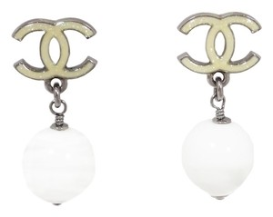 Chanel Chanel CC Monogram Yellow Enamel Drop Earrings.