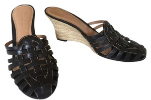 Tommy Bahama Leather Black Wedges