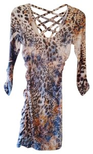 s diva short dress multi blue,tan & light silver leopard on Tradesy