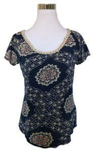 Lucky Brand Bohemian Beaded Macrame Top Blue
