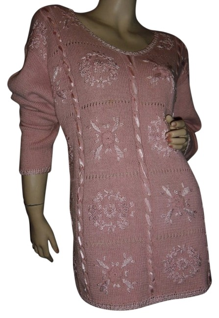 Item - Crochet Embroidered Pink Sweater Pullover Fashionista Style Tunic Size 12 (L)