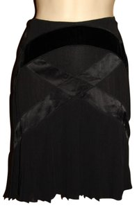 Catherine Malandrino Silk Evening Pleated Mini Skirt Black