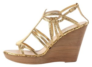 Chanel Metallic Gold Snakeskin Cc Wedges