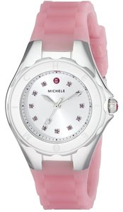 Michele Michele MWW12P000008 Women's Petite Jelly Bean Topaz Crystals Pink Silver Silicon Watch NEW!