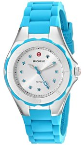 Michele Michele MWW12P000005 Women's Petite Jelly Bean Topaz Crystals Blue Silver Silicon Watch NEW!