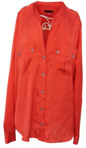 Vince Camuto Button Down Shirt Orange With Gray Buttons