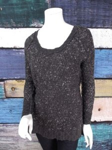 Free People People Black Gray Nubby Wool Blend Scoop Neck Knit Sweater