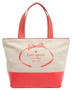 Kate Spade Large Tote Beach Tote Canvas Tote Travel Two-tone Coral Travel Bag