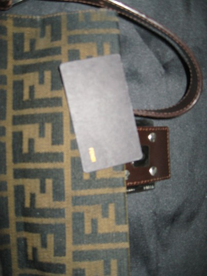 Fendi Canvas Leather Silver Hardware Baguette