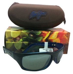 Maui Jim New MAUI JIM Polarized Sunglasses SURF RIDER MJ 261-02G Black & Blue Frame w/ Neutral Grey Lenses