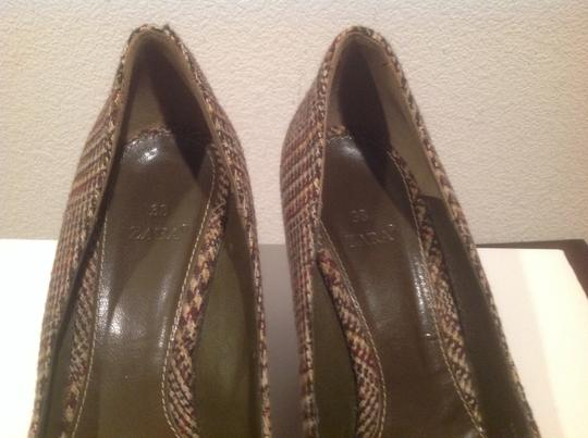 Zara Front Fringe With Buckles Brown plaid Wedges