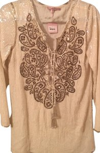 Calypso St. Barth Sequin Embellished Tunic Top cream