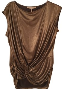 Halston Womens Pleated Top Gold
