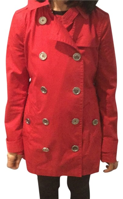 Item - Red 3/4 Length Trench Jacket Size 4 (S)