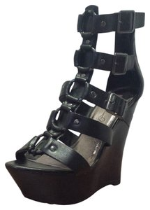 Penny Loves Kenny Sandals Platfroms Buckles Black Wedges