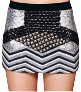 Free People Mini Skirt Black, silver studs, black stones, gray