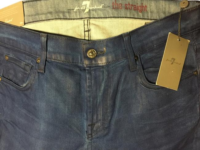 Item - Blue Coated Modern Straight Leg Jeans Size 34 (12, L)
