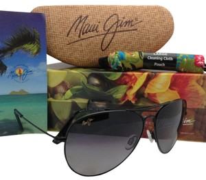 Maui Jim New MAUI JIM Titanium Sunglasses MAVERICKS GS 264-02 Black Frame w/ Neutral Grey Polarized
