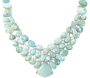 Stunning Caribbean Larimar 925 Sterling Silver Statement Necklace