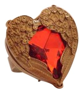 New Heart W/ Wings Adjustable Ring Red Antiqued Gold Chunky Jewelry J2179