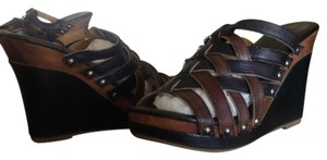 Bed|Stü Gina Sandal Black Leather Slide Black/teak rustic Wedges
