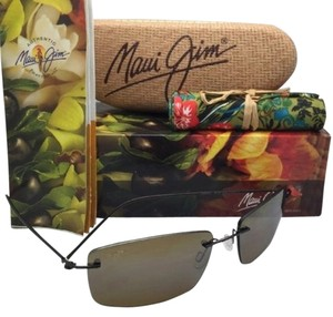 Maui Jim New Rimless MAUI JIM Sunglasses SANDHILL MJ 715-25A Gloss Drk Brown Frame w/HCL Bronze Lenses