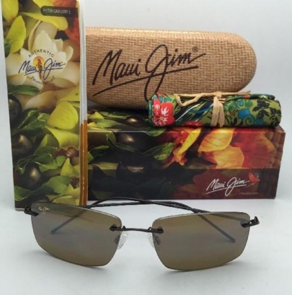 5b88fb6216ca7 Maui Jim New Rimless Sandhill Mj 715-25a Gloss Drk Brown Frame W Hcl ...