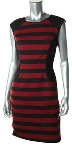 Vince Camuto short dress Black and Red Ponte Knee-length Sheath Sleeveless on Tradesy