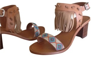 Ash Leather Fringed Beaded Heel Nude Sandals