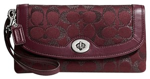 Coach Large Wallet Burgundy Metallic Wristlet in bordeaux
