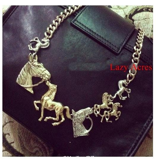 Unknown BOGO Free 2 Tone Western Chunky Horse Themed Necklace