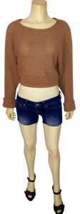 Other Light Brown Cropped Size Medium Stretchy Sweater