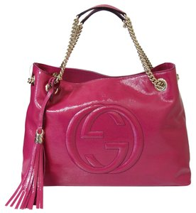 d716411ea Gucci Soho 308982 Chain Pink Patent Leather Shoulder Bag - Tradesy