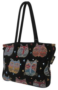 Laurel Burch New Without Tags Soft Kitties Tote in on Black NWOT