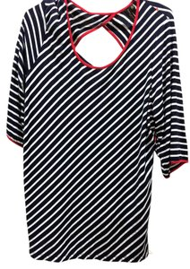 Susan Lawrence T Shirt Black and white with red detail